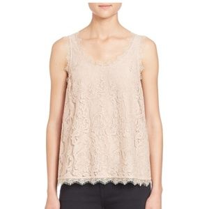 S Joie Scoop Neck Lace Sleeveless Top